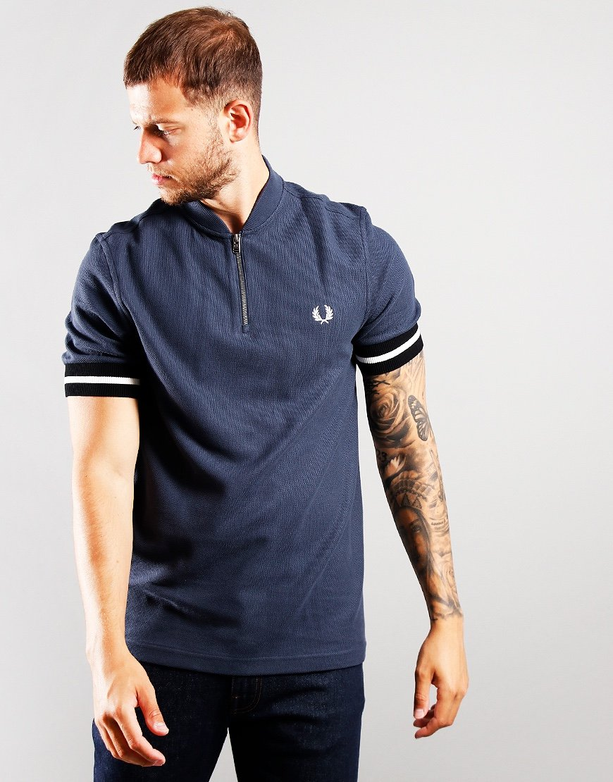 Fred Perry Tipped Cuff Zip Neck Polo Shirt Dark Airforce