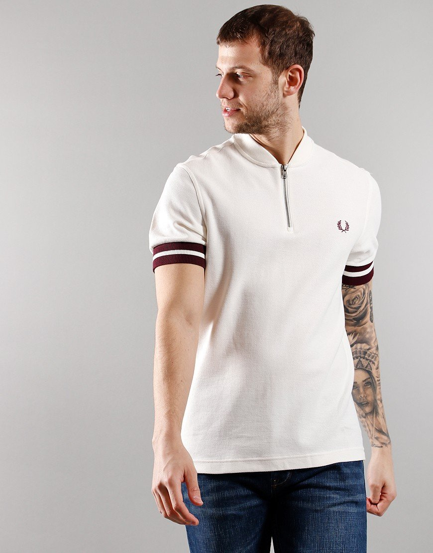 Fred Perry Tipped Cuff Zip Neck Polo Shirt Snow White