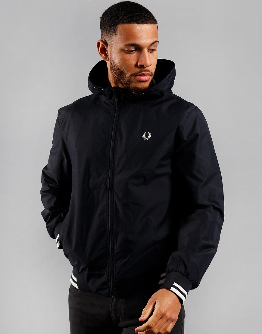 Fred Perry Tipped Hooded Bentham Jacket Navy