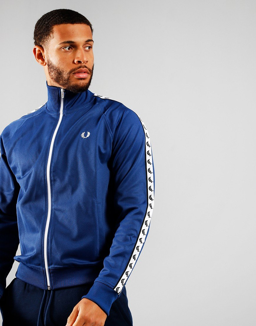 Fred Perry Laurel Wreath Tape Track Top Nautical Blue