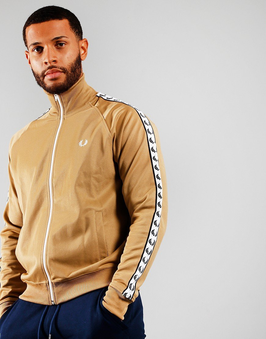 Fred Perry Laurel Wreath Tape Track Jacket Warm Stone