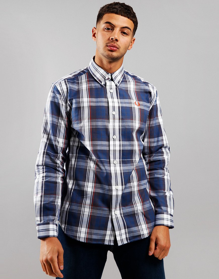 Fred Perry Twill Check Long Sleeve Shirt Midnight