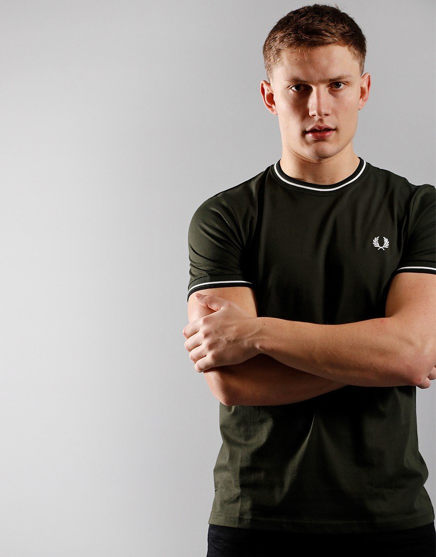 Fred Perry Tipped T-Shirt Hunting Green