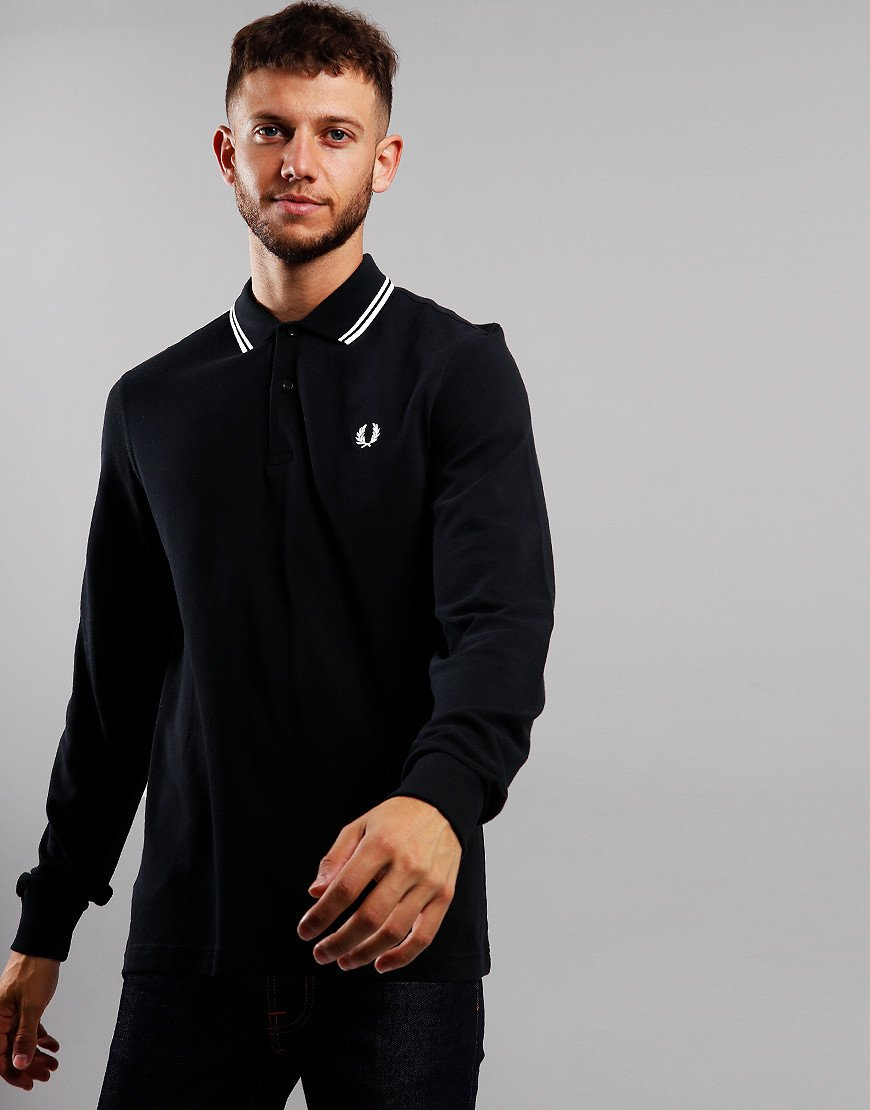 Fred Perry Twin Tipped Long Sleeve Polo Shirt Black/Porcelain/Porcelain