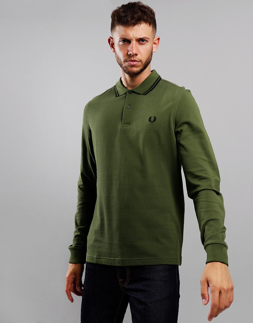 Fred Perry Twin Tipped Long Sleeve Polo Shirt Cypress/Black/Black