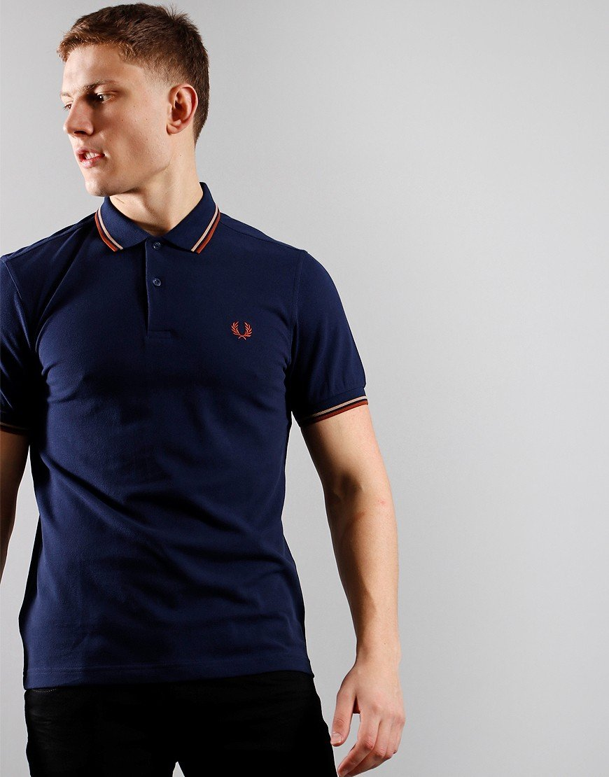 Fred Perry Twin Tip Polo Shirt Cbnlue/Wstn/Pap