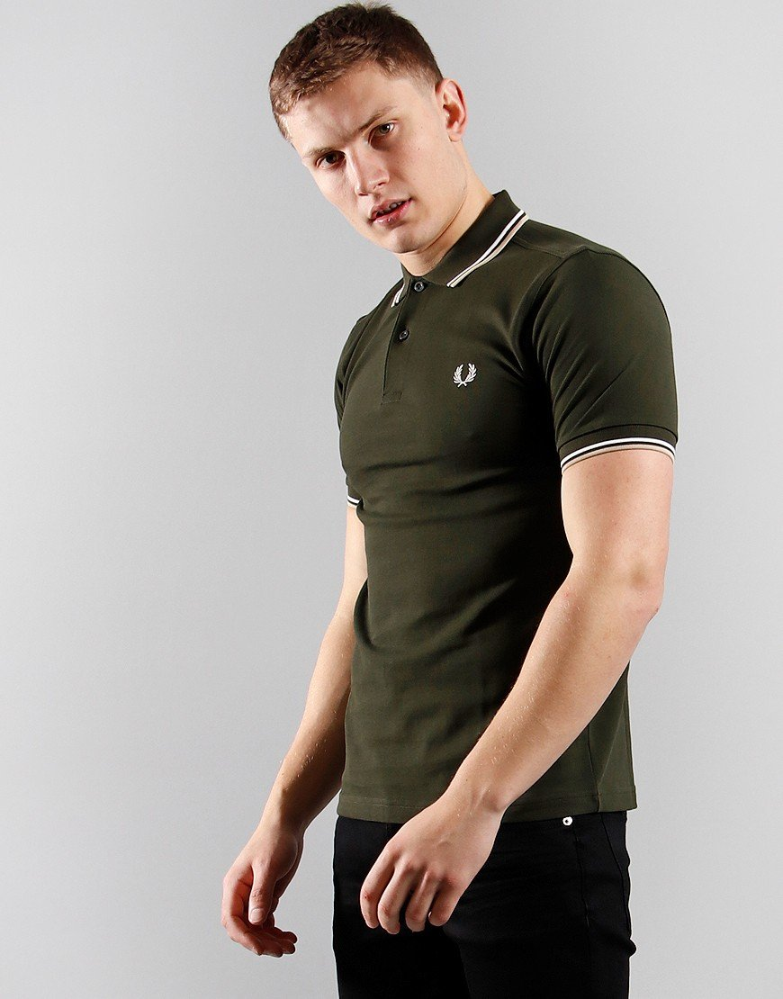 Fred Perry Twin Tip Polo Shirt Hunting Green/ Snow White/ Stn