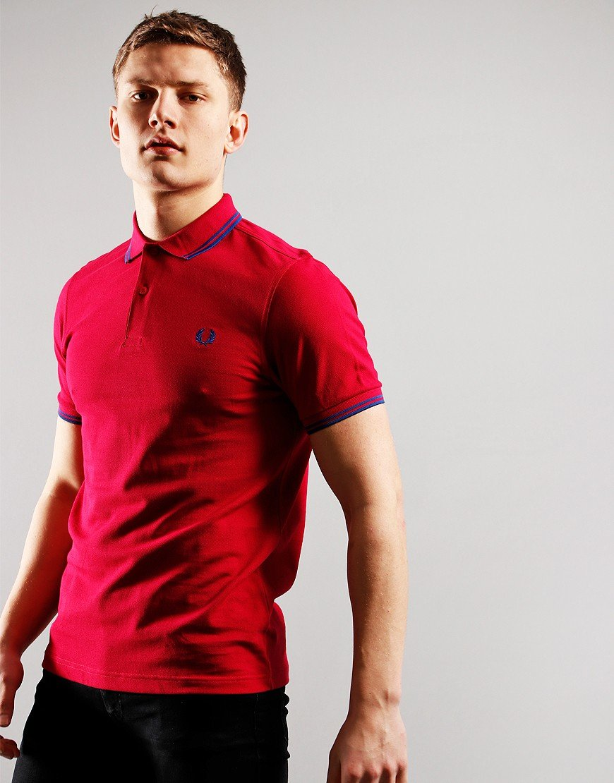 Fred Perry Twin Tip Polo Shirt Red Grapefruit/Mid Blue