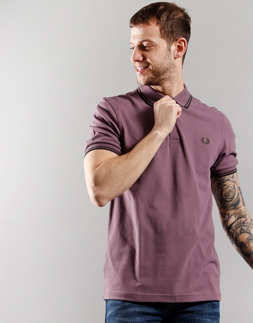 Fred Perry Twin Tip Polo Shirt Black Plum