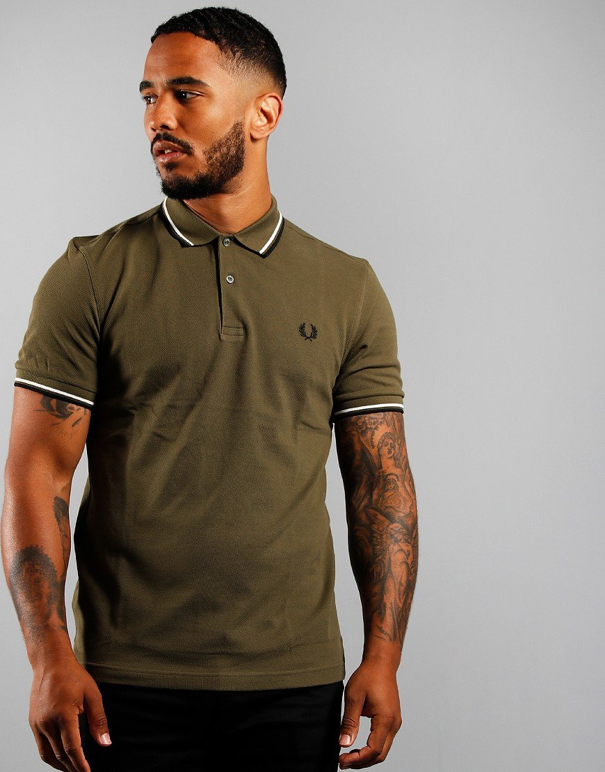 Fred Perry Twin Tipped Polo Shirt Military Green