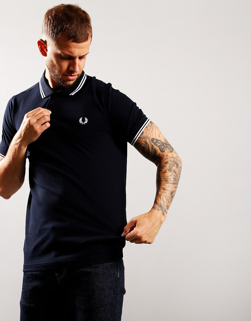 Fred Perry Twin Tipped Polo Shirt Navy/White/Red