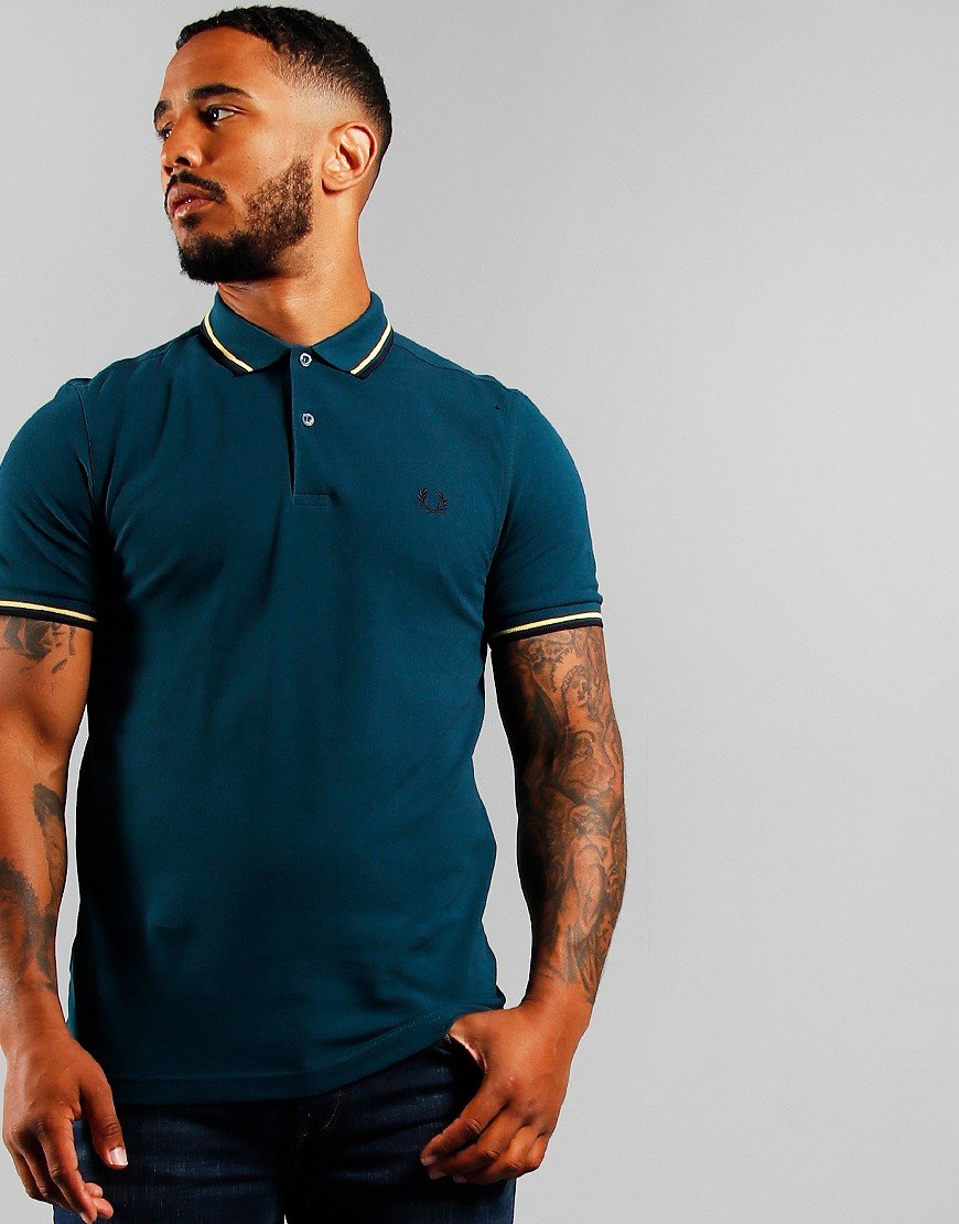 Fred Perry Twin Tipped Polo Shirt Petrol Blue
