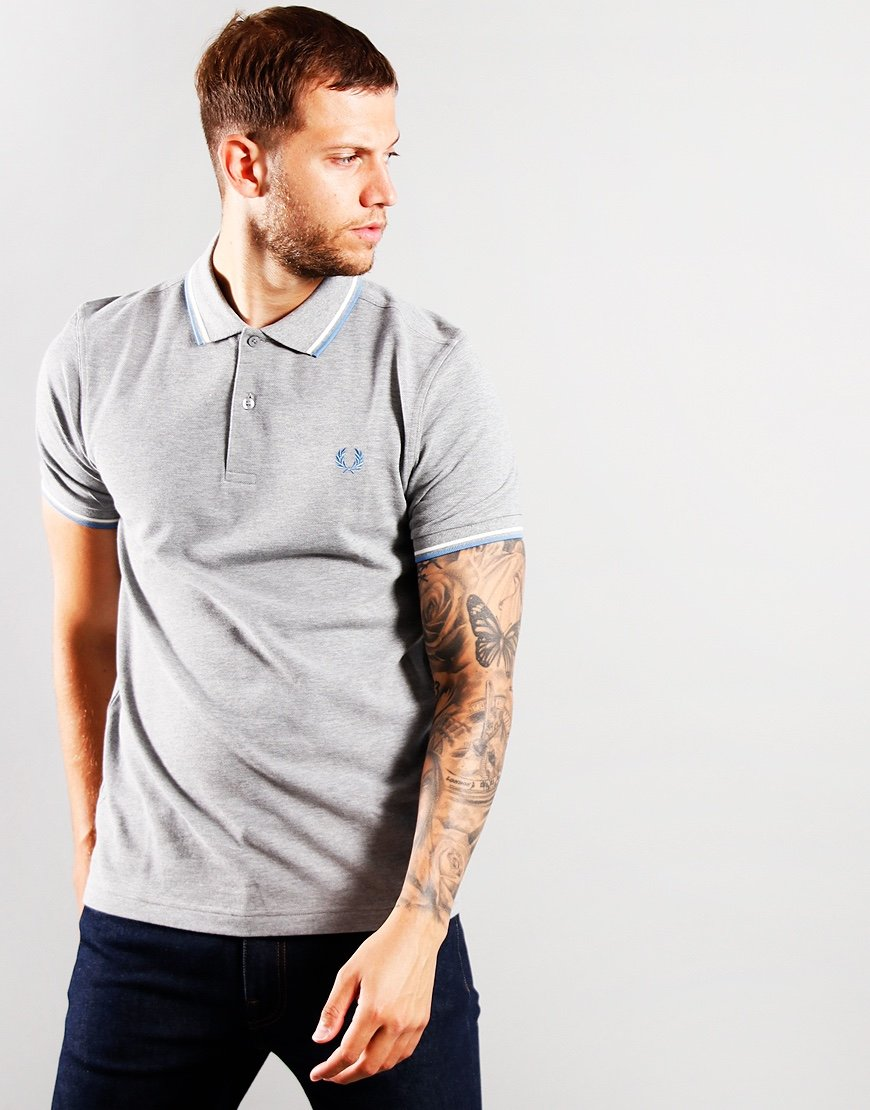 Fred Perry Twin Tip Polo Shirt Steel Marl/Snow White/River