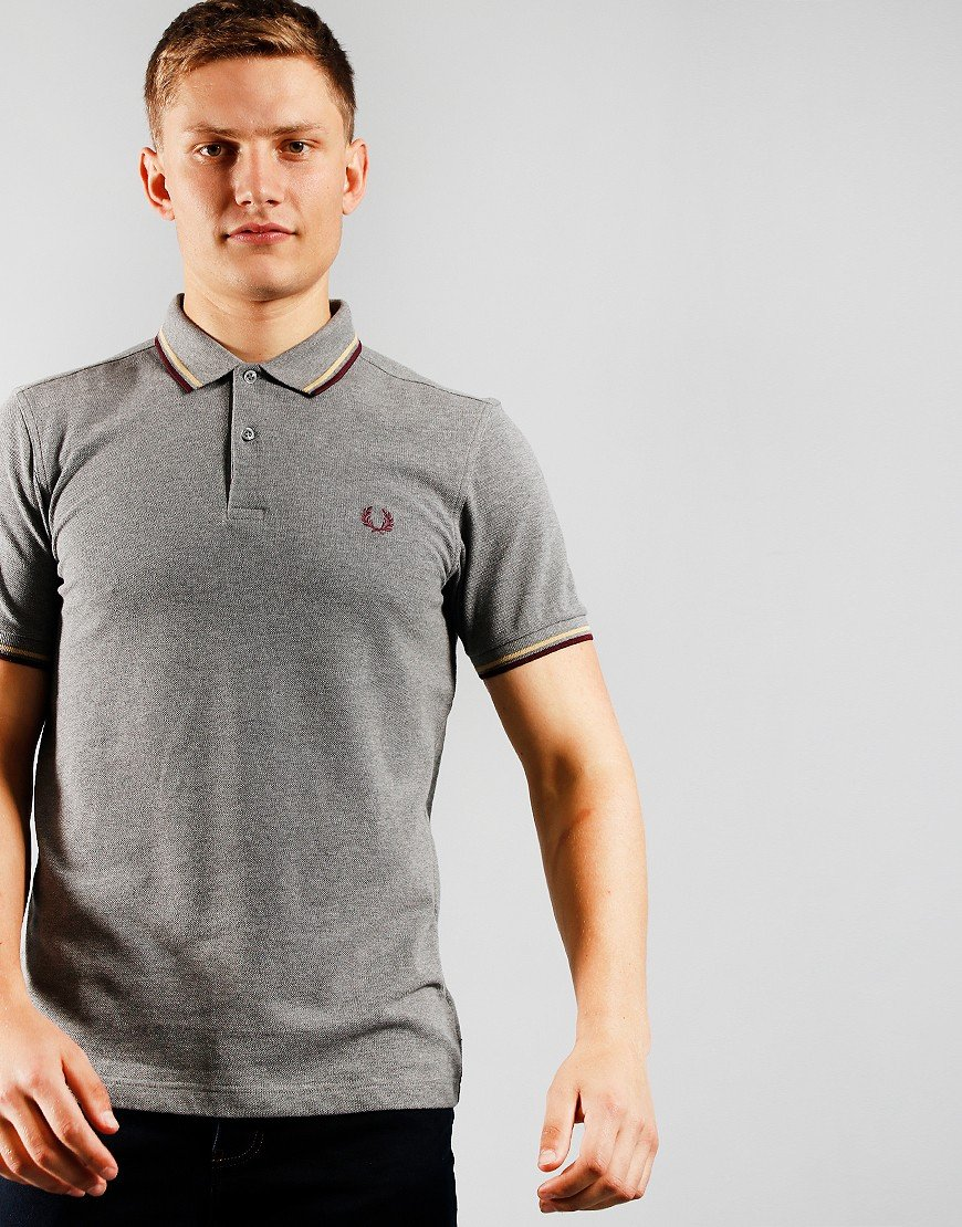 Fred Perry Twin Tipped Polo Shirt Grey Marl
