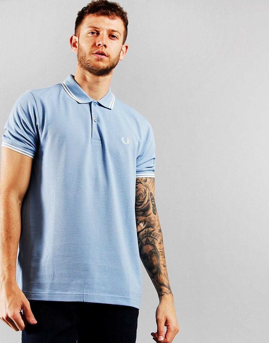 Fred Perry Twin Tipped Polo Shirt Sky/Snow/Snow
