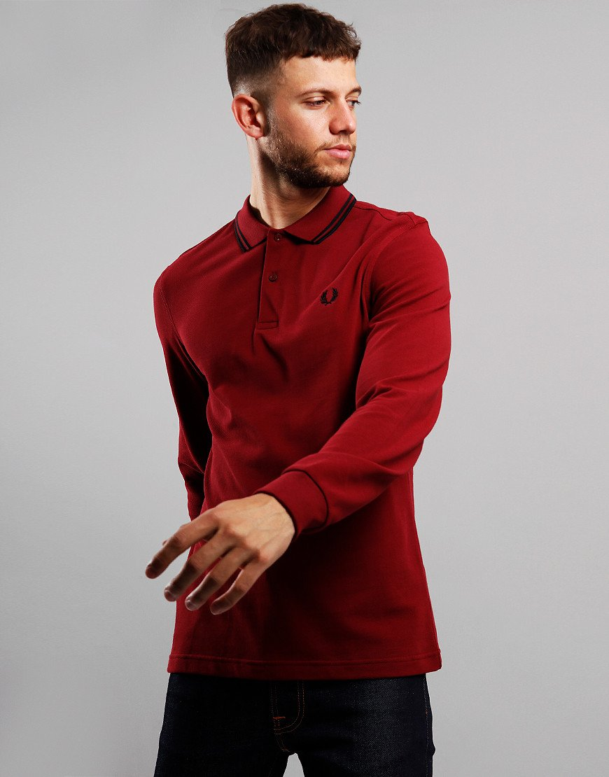 Fred Perry Twin Tipped Long Sleeve Polo Shirt Dark Red/Black/Black