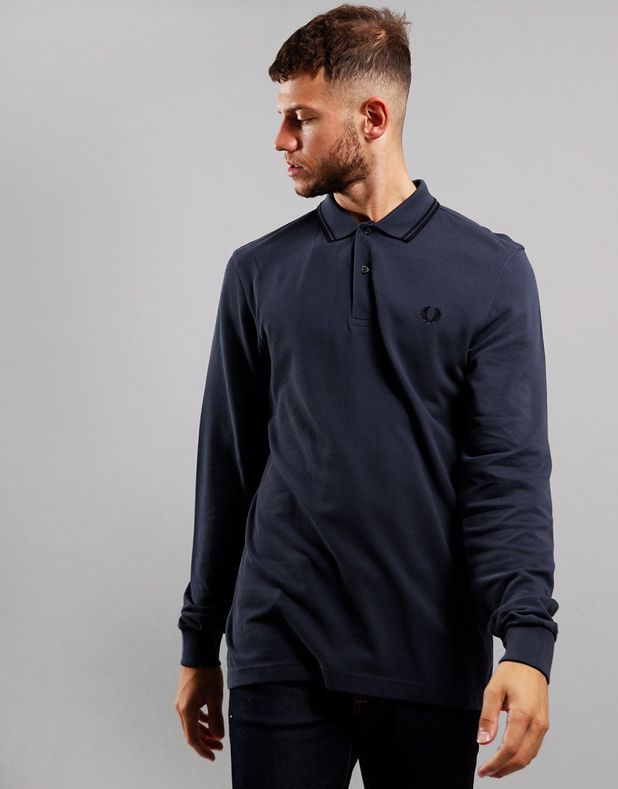 Fred Perry Twin Tipped Long Sleeve Polo Shirt Graphite/Black/Black