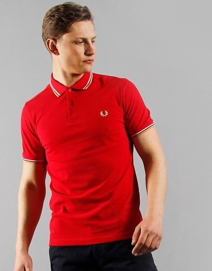 Fred Perry Twin Tipped Polo Shirt Jester Red/White/Champagne