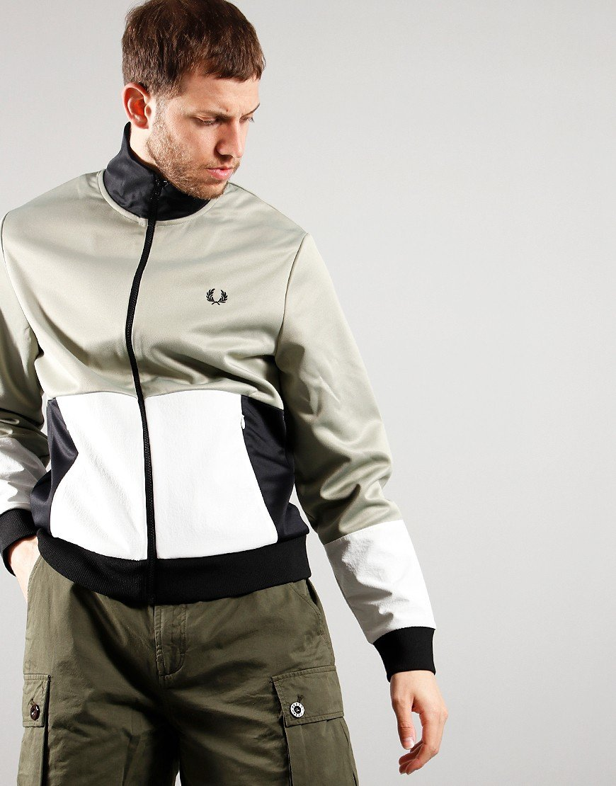 Fred Perry Woven Colour Block Track Jacket Seagrass