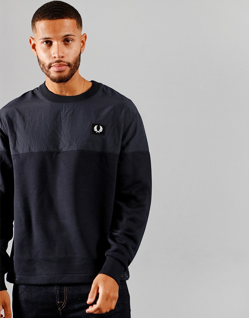 Fred Perry Woven Panel Sweat Navy
