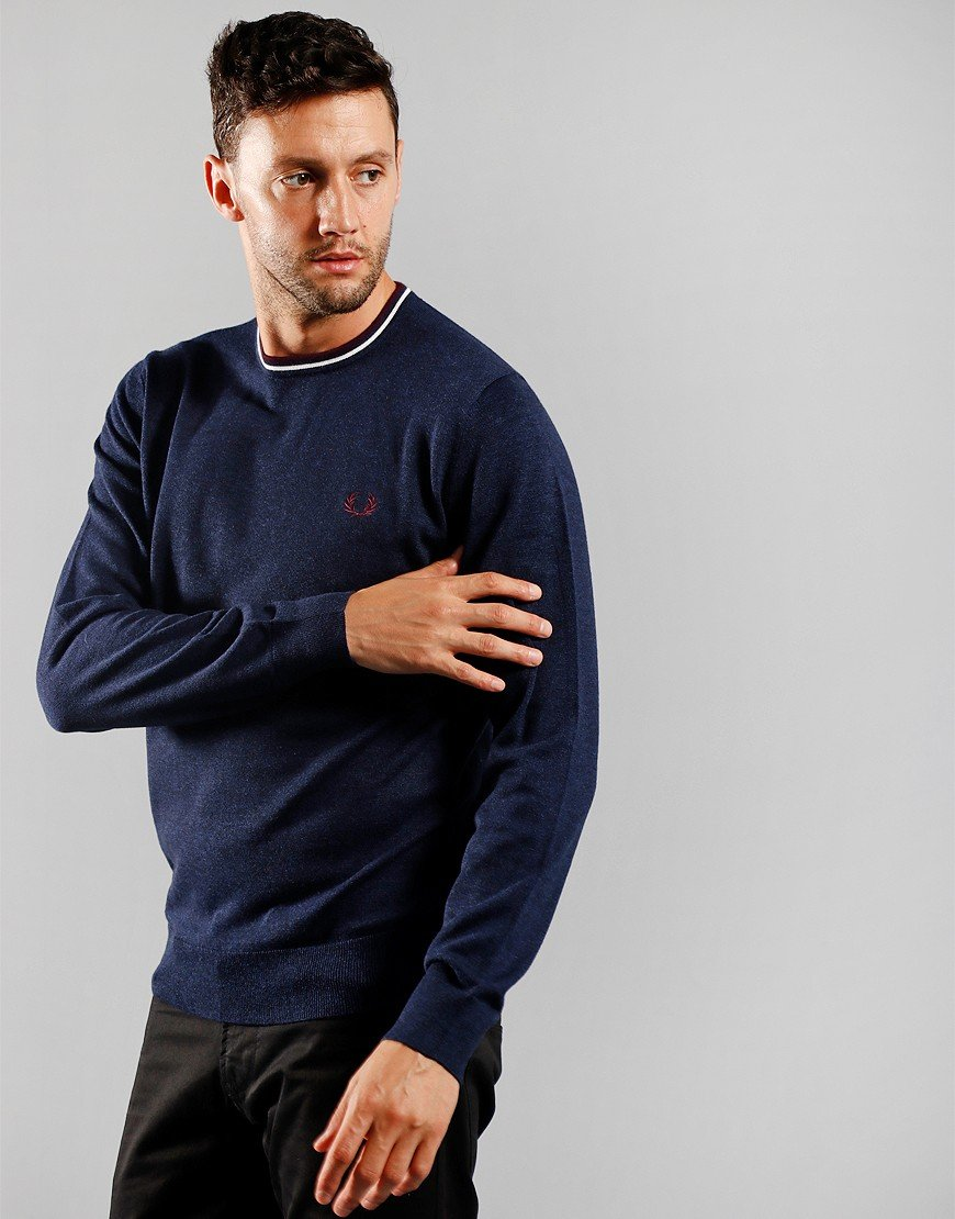 Fred Perry Crew Neck Jumper Carbon Blue