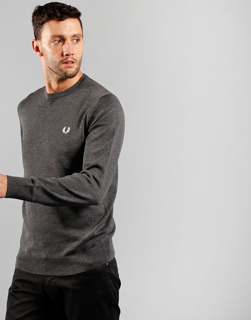 Fred Perry Crew Neck Jumper Graphite Marl