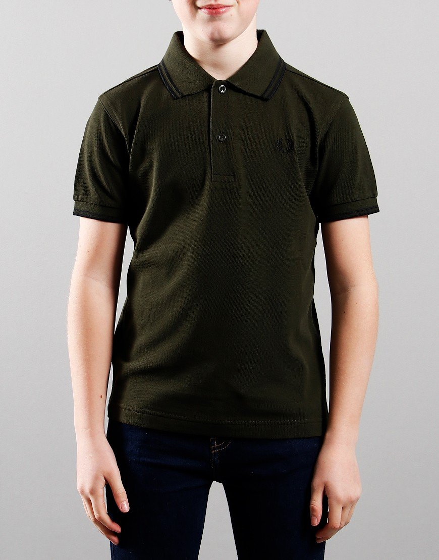 Fred Perry Kids Twin Tip Polo Shirt Hunting Green