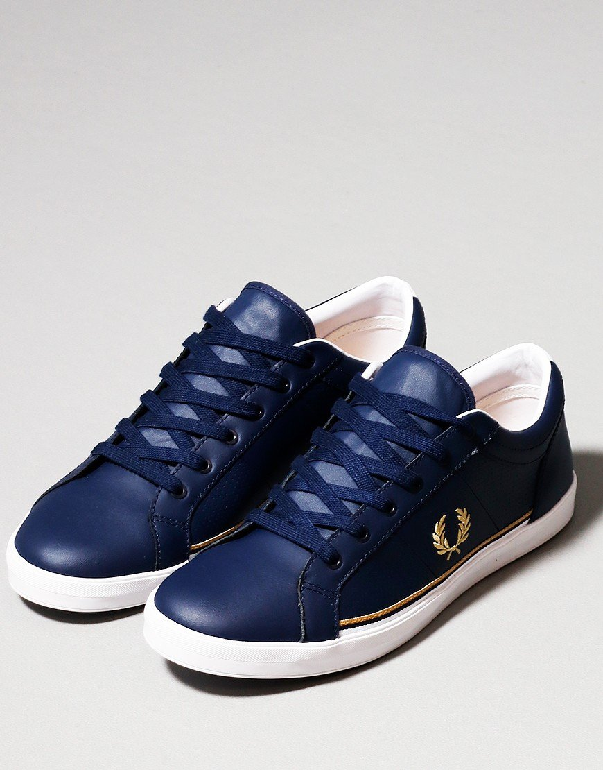 Fred Perry Baseline Perforated Leather Plimsole Carbon Blue
