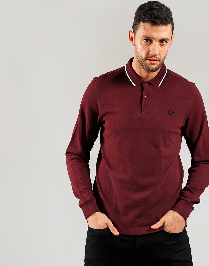 Fred Perry Long Sleeve Twin Tipped Polo Shirt Mahogany
