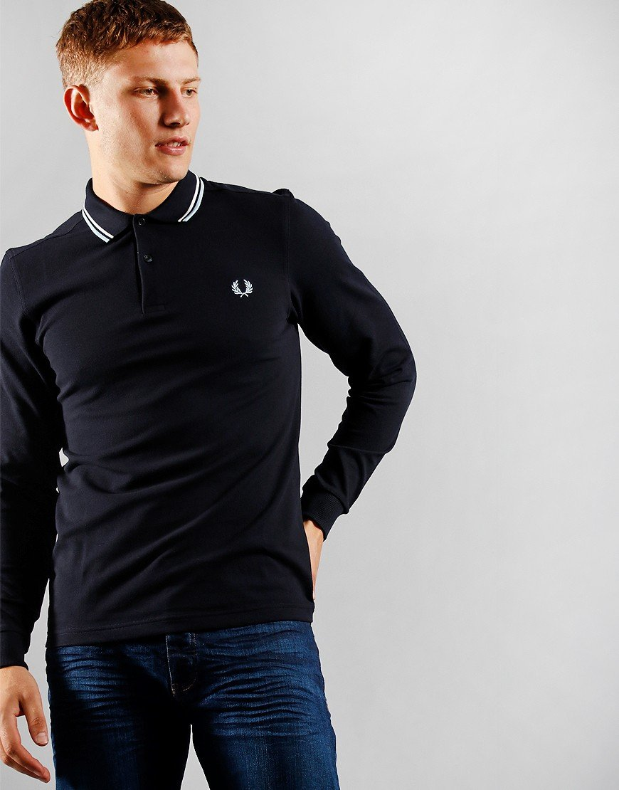 Fred Perry Long Sleeve Twin Tip Polo Shirt Navy