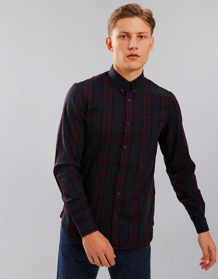 Fred Perry Winter Tartan Long Sleeved Shirt Mahogany