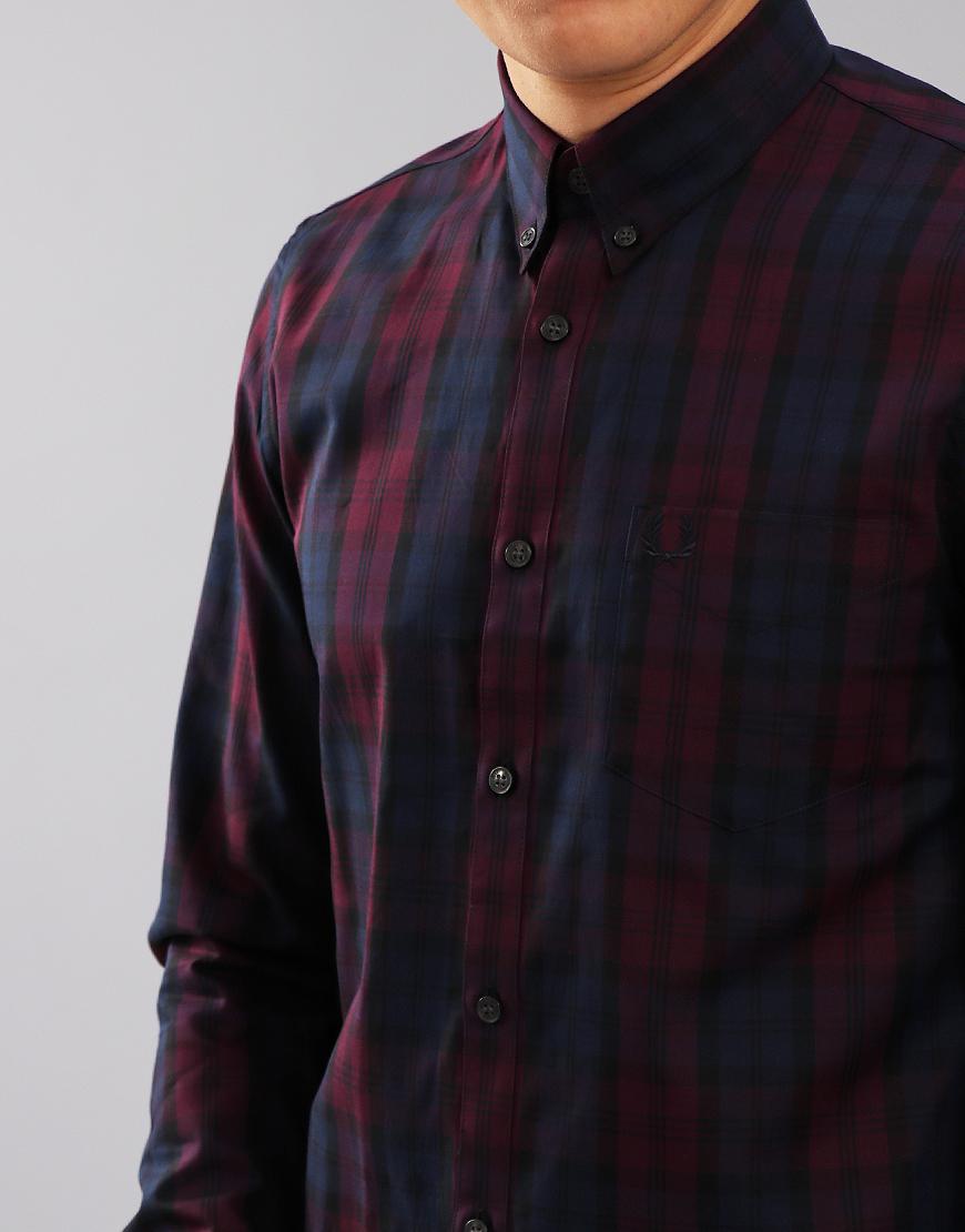 Fred Perry Winter Tartan Long Sleeved Shirt Mahogany