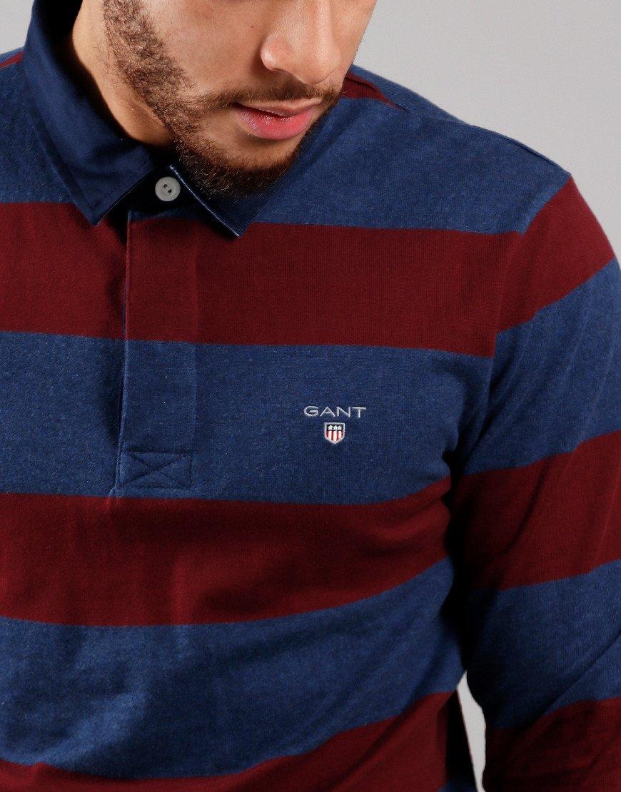 GANT Barstripe Rugger Polo Shirt Port Red