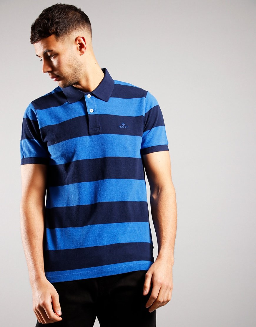 GANT Barstripe Pique Polo Shirt Nautical Blue
