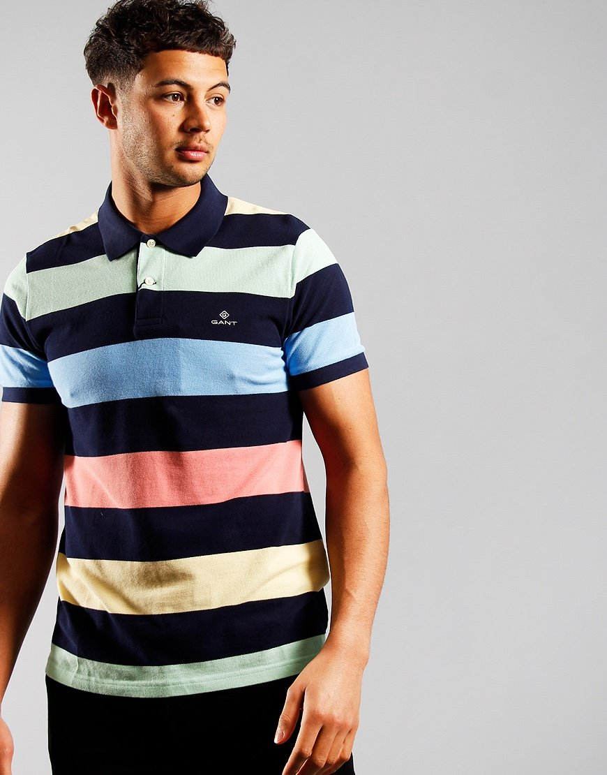 GANT Barstripe Rugger Polo Shirt Multicolour