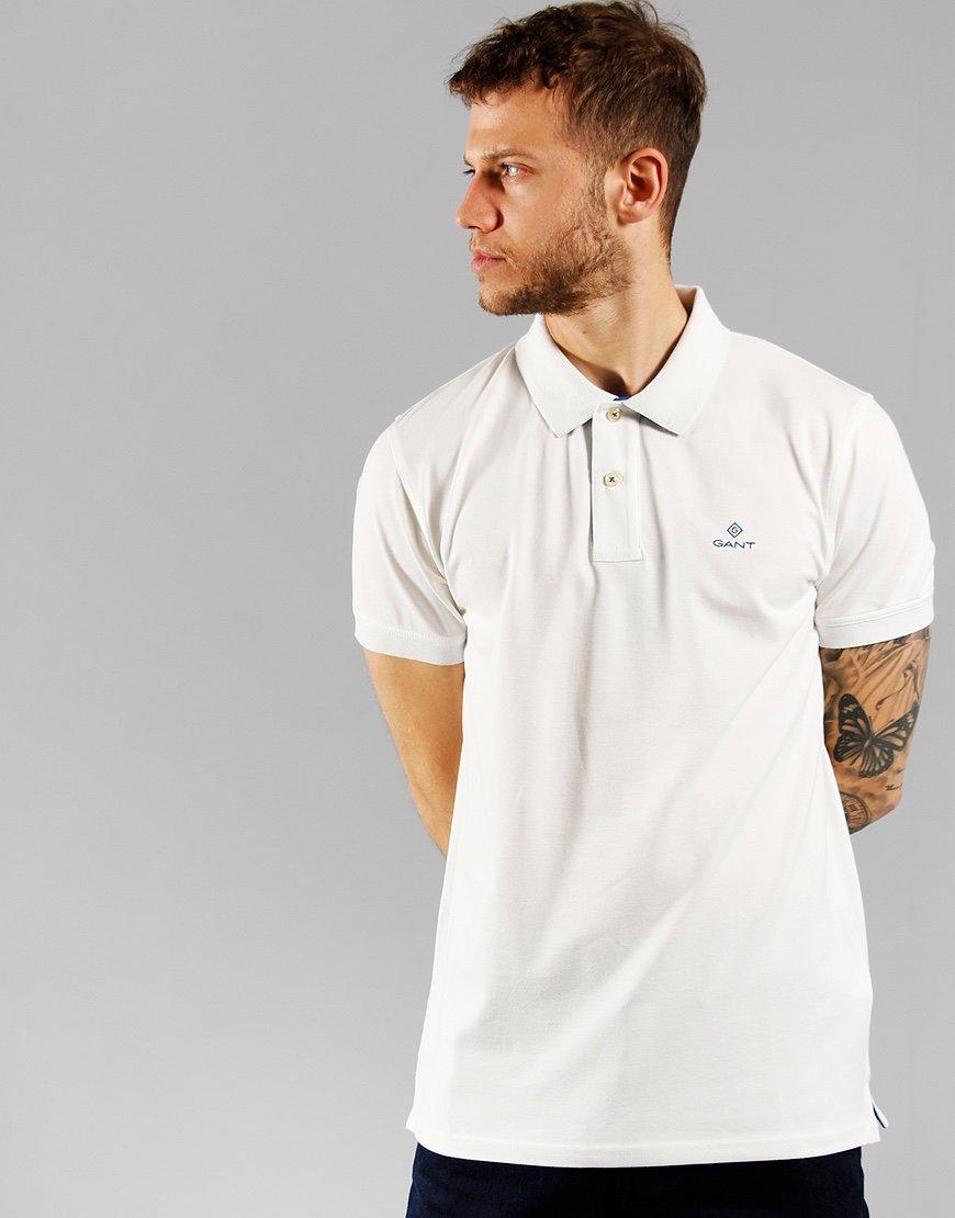 GANT Contrast Collar Rugger Polo Shirt Eggshell