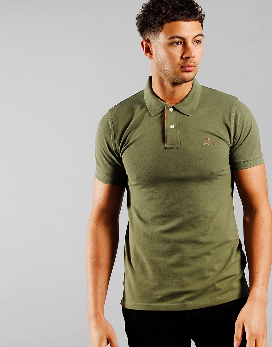 GANT Contrast Collar Rugger Polo Shirt Four Leaf Green