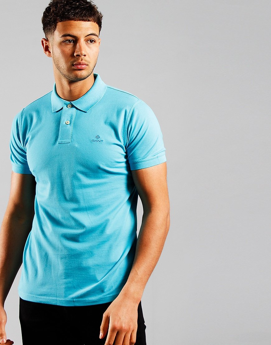 GANT Contrast Collar Rugger Polo Shirt Light Aqua