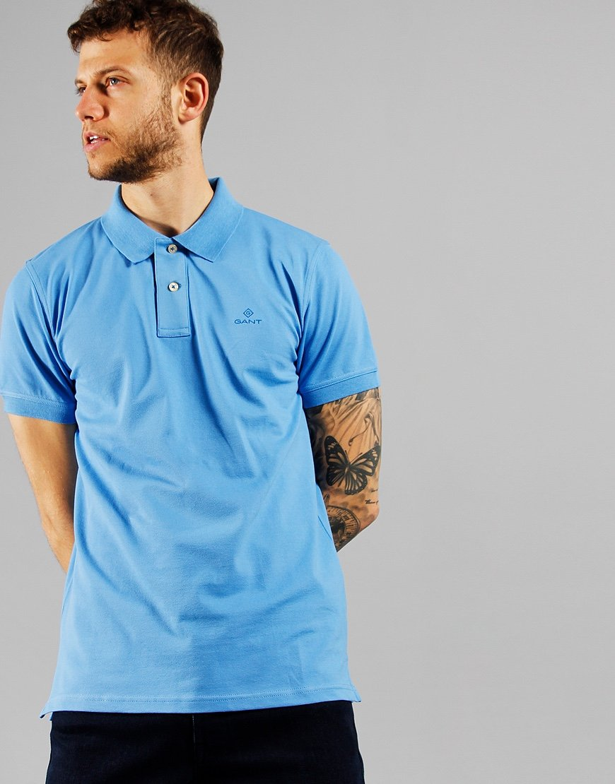 GANT Contrast Collar Rugger Polo Shirt Pacific Blue