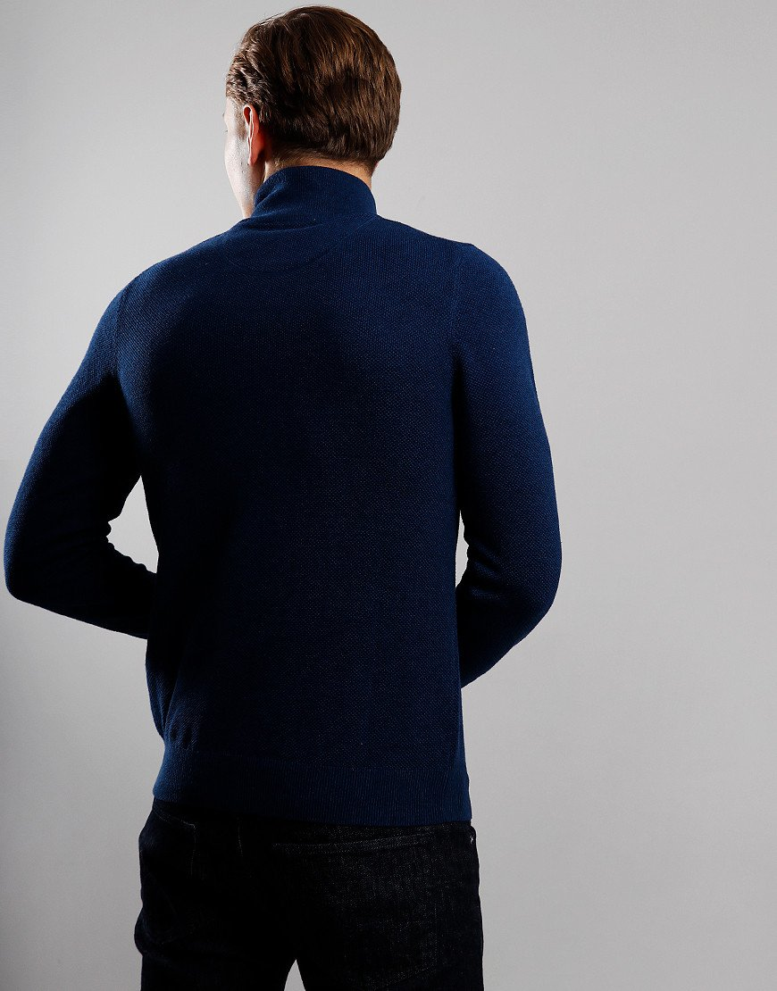 GANT Cotton Piqué Half Zip Sweat Marine Melange