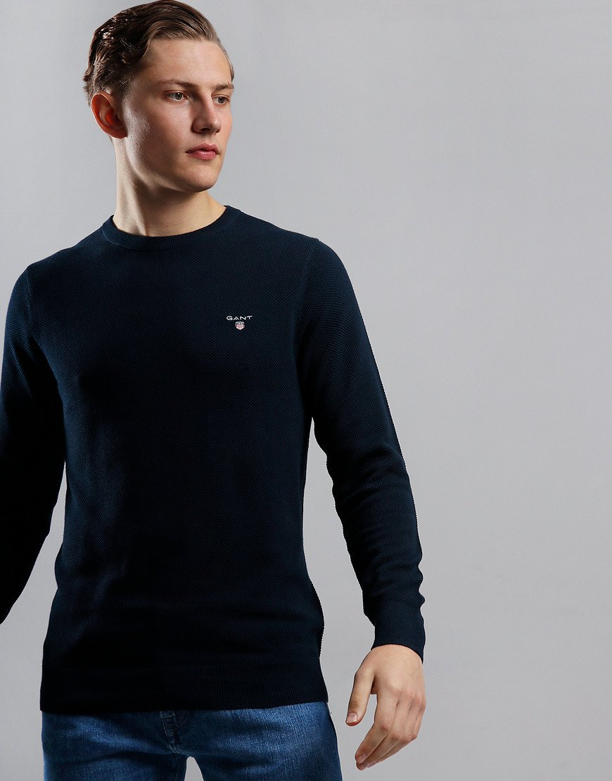 GANT Cotton Piqué Crew Neck Knit Evening Blue