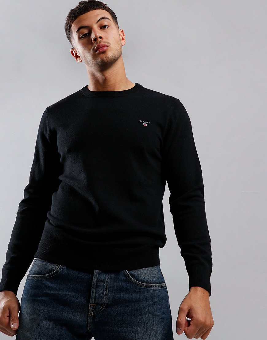 GANT Lambswool Crew Neck Knit Black