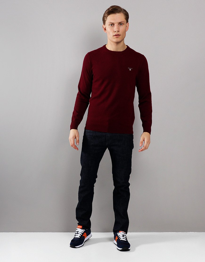 GANT Lambswool Crew Neck Knit Dark Burgundy Melange
