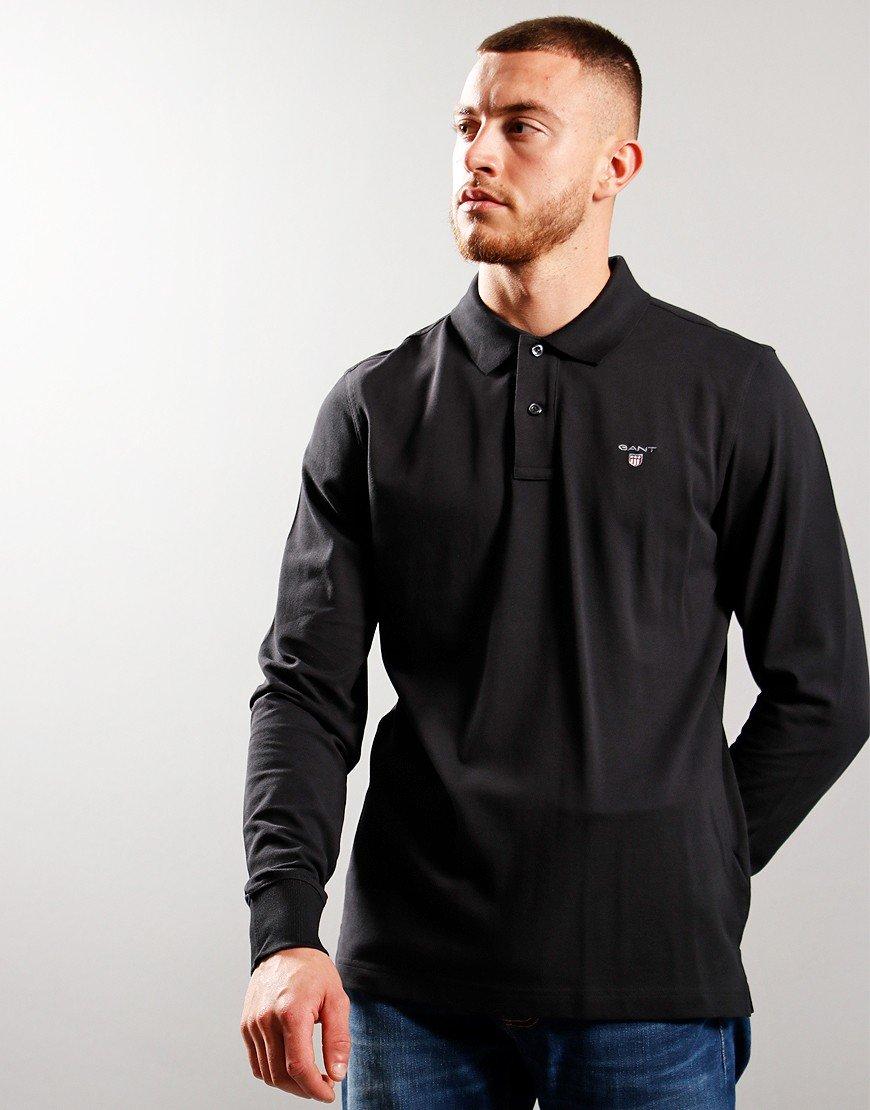 GANT Archive Long Sleeve Pique Polo Shirt Black