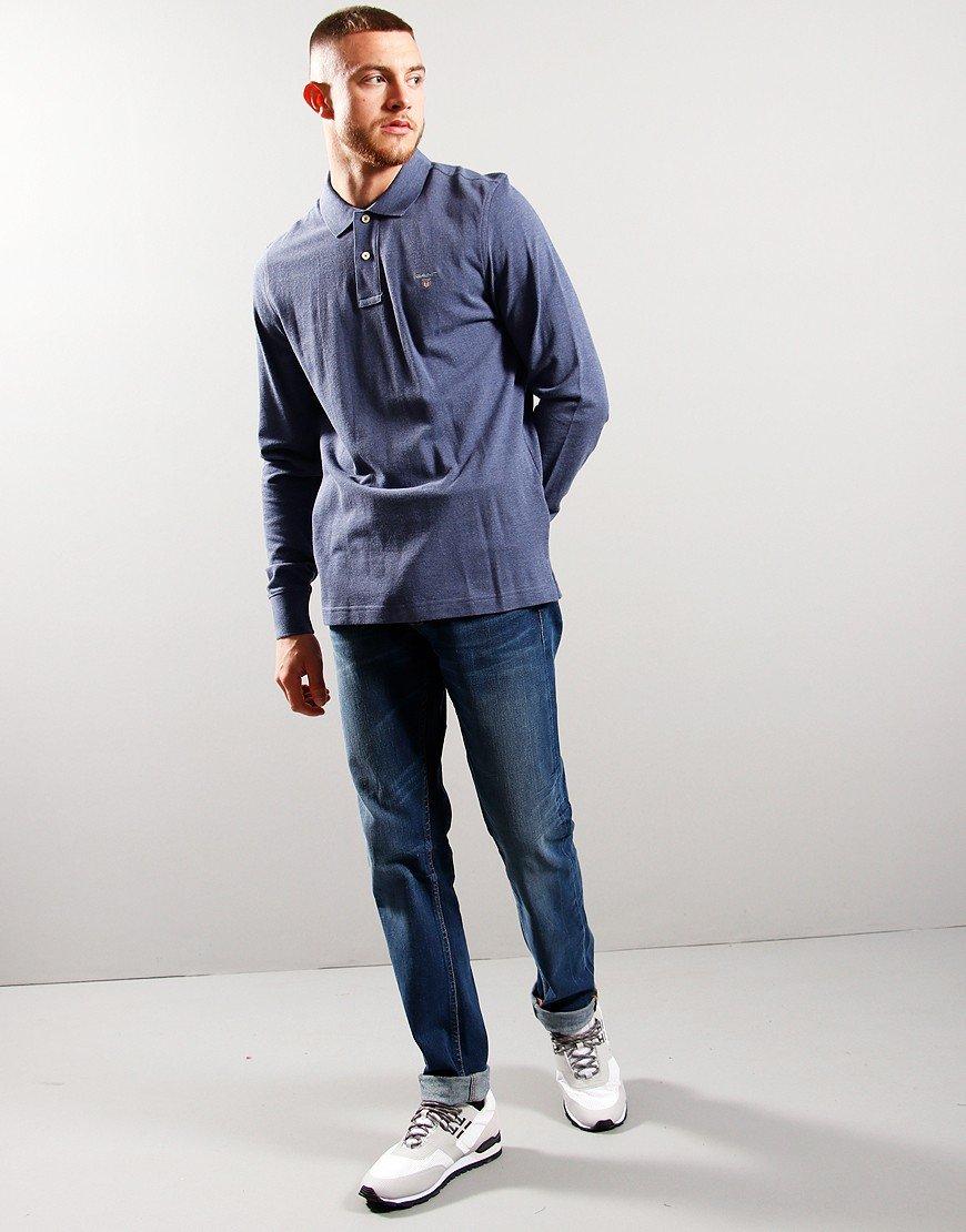 GANT Archive Long Sleeve Pique Polo Shirt Dark Jeans Blue Melange