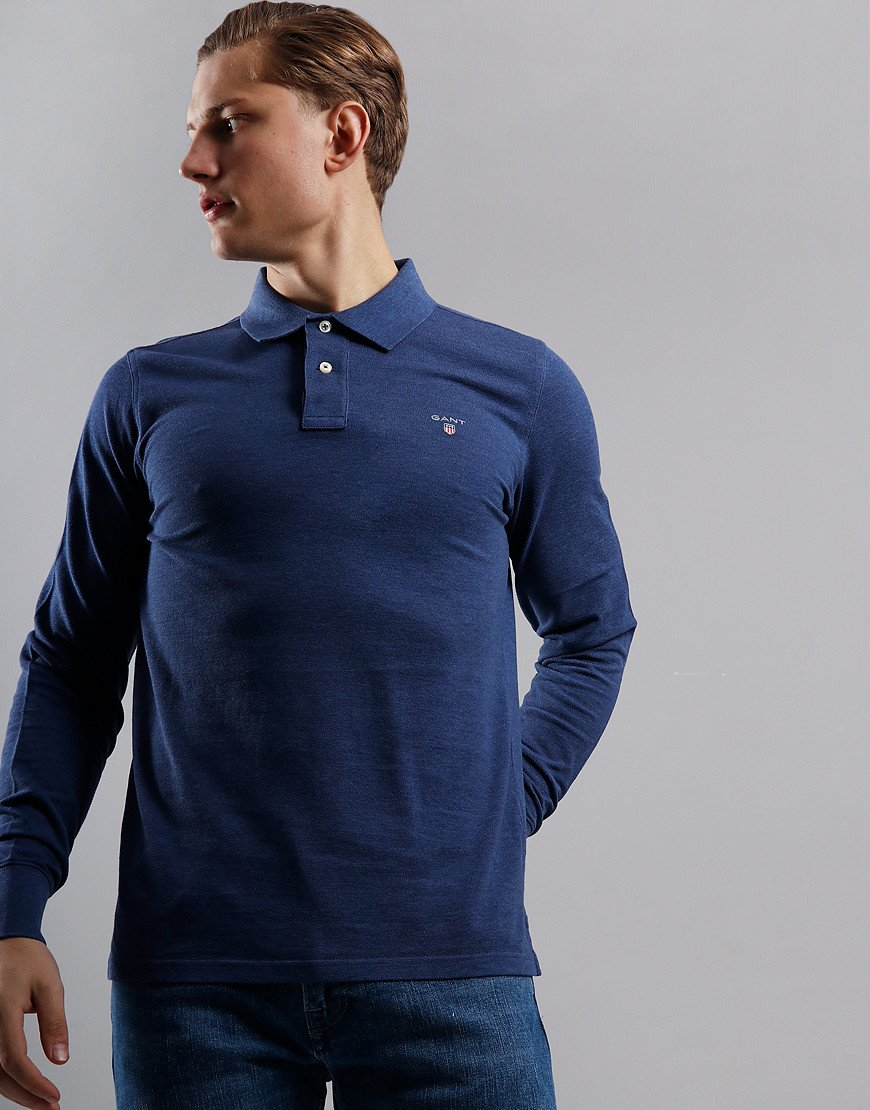 GANT Long Sleeve Piqué Polo Shirt Marine Melange