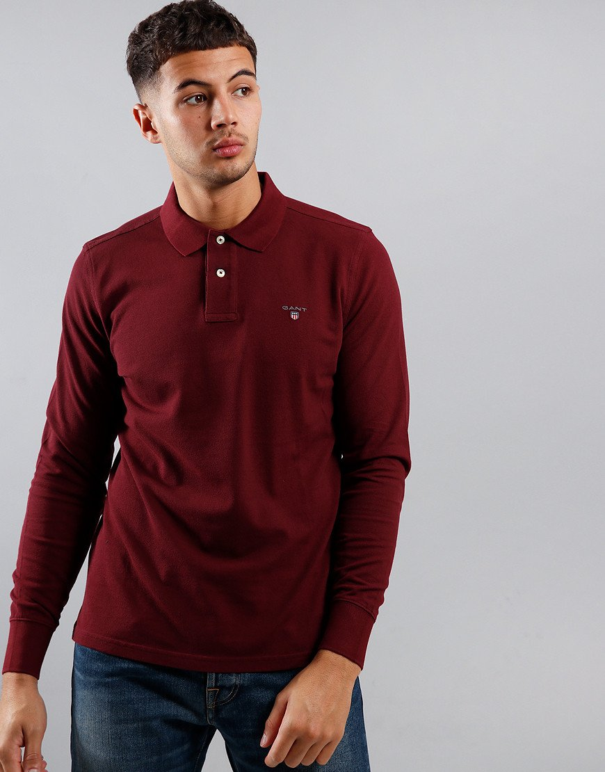 GANT Long Sleeve Piqué Polo Shirt Port Red