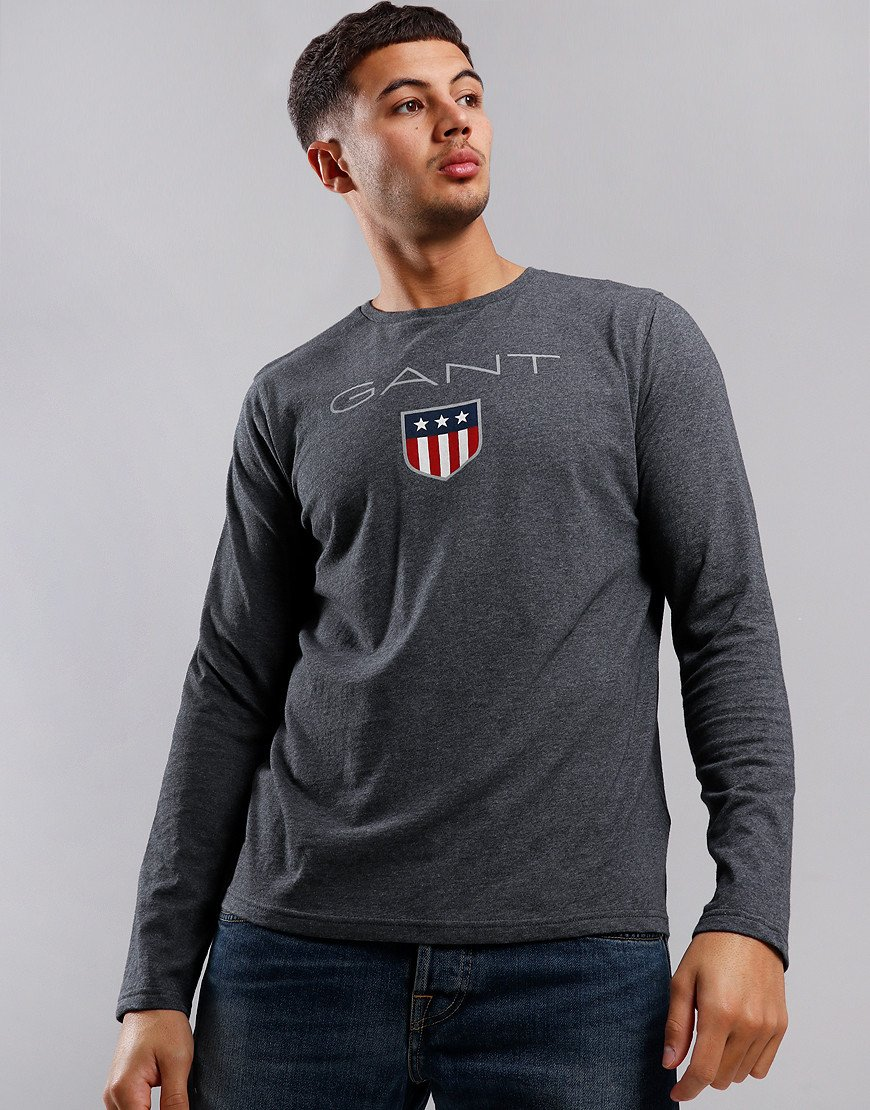 GANT Long Sleeve Shield T-Shirt Charcoal Melange
