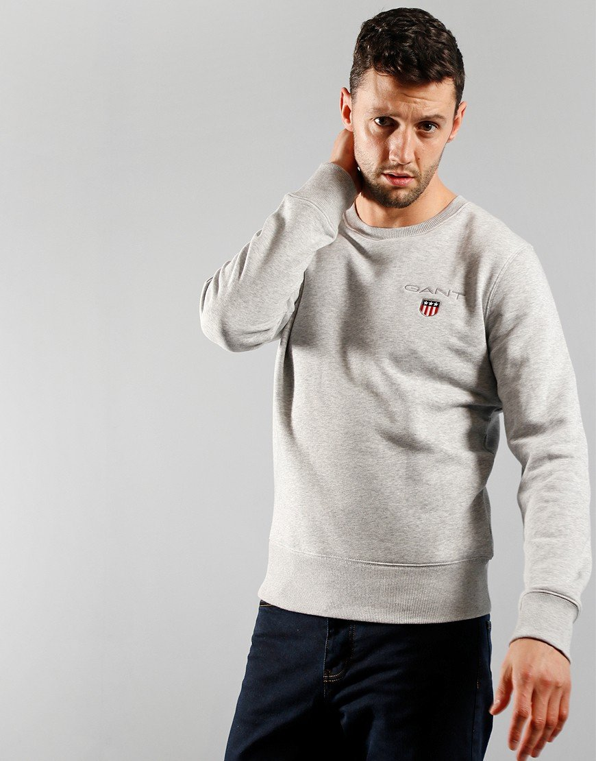 GANT Medium Shield Crew Sweat Light Grey Melange