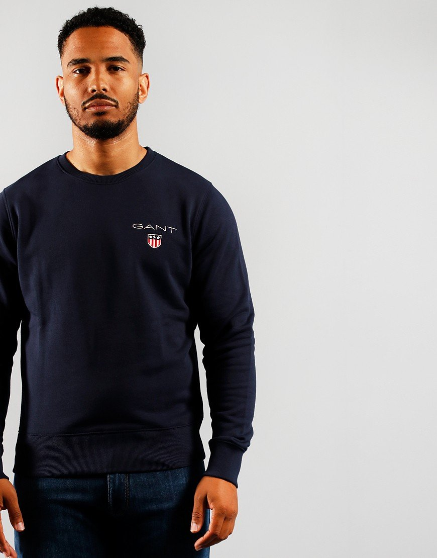 GANT Medium Shield Crew Sweat Evening Blue